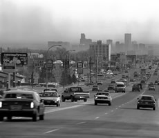 Air pollution over Denver traffic