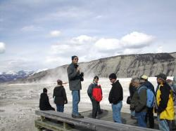 Bruce Fouke leads the biocomplexity workshop group at Mammoth Hot Springs in Yellowstone National Park