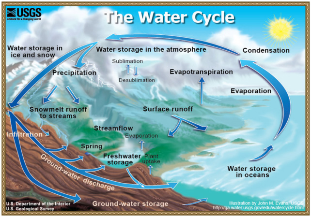 water cycle diagram with labels. The Water Cycle Diagram With