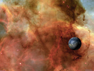 Composite image of Earth and Carina Nebula