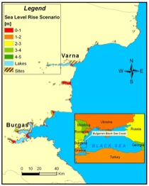 Flood-prone areas along the Bulgarian coast