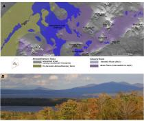 Hornfels mountains created by contact metamorphism of the Carrabassett Formation in the Moosehead Lake region of central Maine