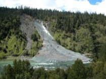 Photo of streamside landslide