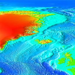 Color, shaded relief map of  the North Atlantic, including Iceland and Greenland.