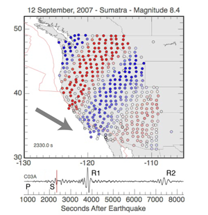 Seismic wave propagation from the 2004 Great Sumatra earthquake across the Transportable Array of EarthScope (courtesy of Charles J. Ammon)