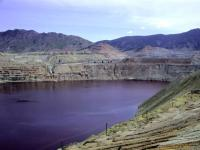 View of the Berkeley pit an abandoned open pit mine.