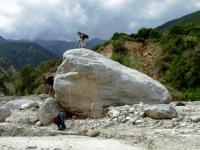 Giant boulder transported during floods