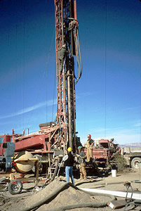 Instrumentation lowered into deep test hole at Amargosa Desert Research Site. Photograph by B.J. Andraski USGS
