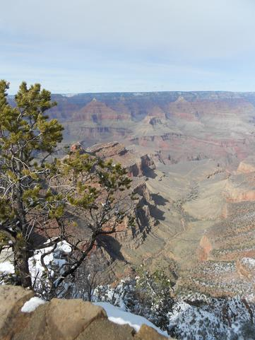 View of the Bright Angel trail from the south rim of the Grand Canyon