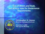 Screen cap from front page of Keane presentation from departments session at AGU 05