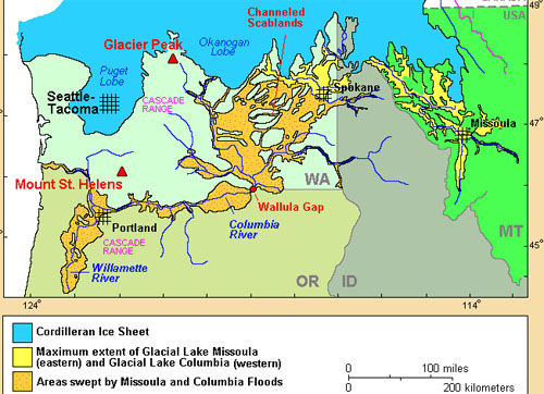 USGS map of Lake Missoula Flood area