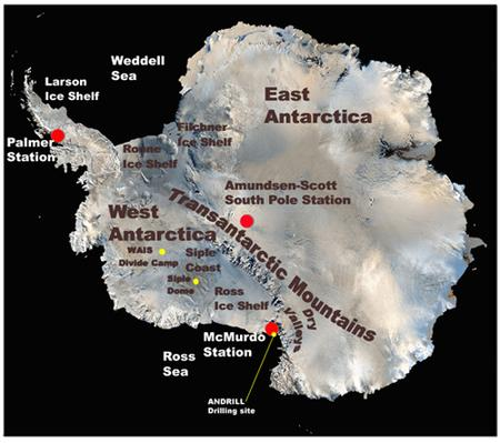 My Oh Miocene RealClimate - Antarctic research stations map