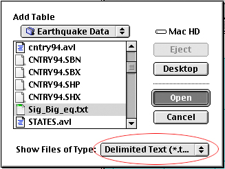 Add the significant and big earthquakes to the project as a table