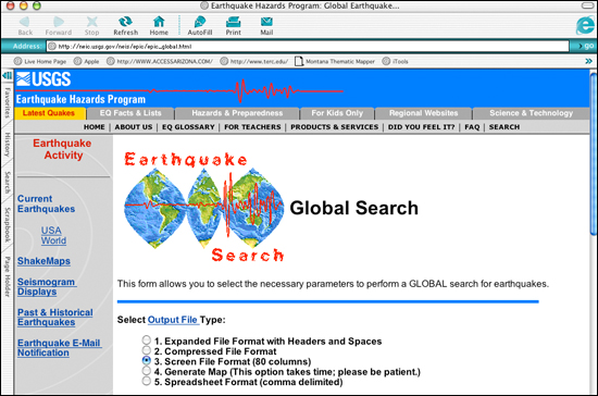 Global earthquake search at USGS Earthquake Hazards Program