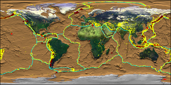 Earthquakes plotted on plate boundaries