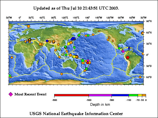 Recent earthquakes plotted on world map