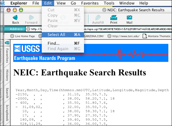 Select all the displayed earthquake records
