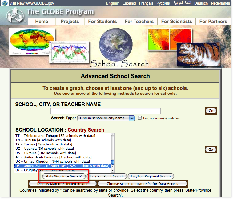 Window on the GLOBE Web site where the country of interest is selected