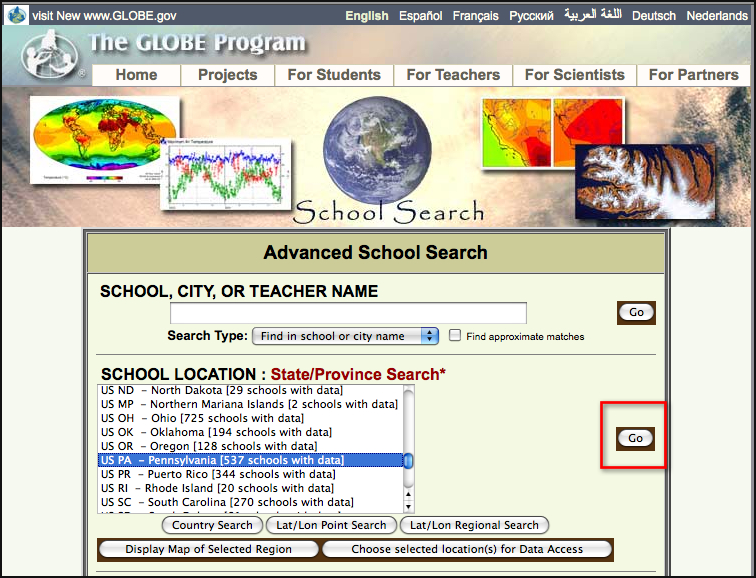 Window on the GLOBE Web site where the state of interest is selected.