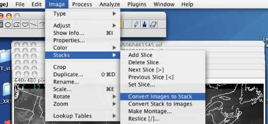This image shows the Image j menu item that converts images to a stack