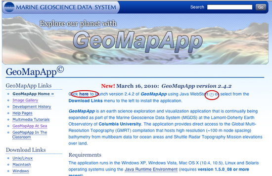 Geomapapp Java version and help lnk