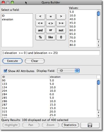 elevation query window