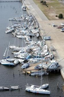 Boats piled up by Hurricane Ivan