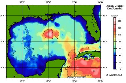 Tropical Cyclone Heat Potential, Gulf of Mexico, 26 August, 2005