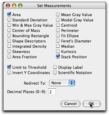 Set Measurements Dialog Box