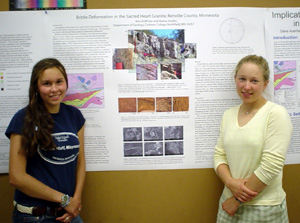 Marisa and Bess present the research poster for their group