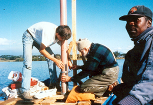 coring lake from platform to recover paleoarchives