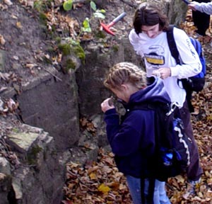 Students at an outcrop