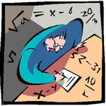 cartoon of confusion with math