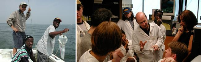 Image of sampling in Chesapeake Bay and students learning PCR