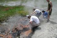 image of students sampling at Fairy thermal site