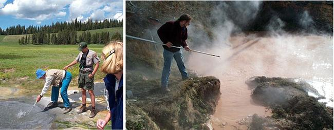 Left:  Wolfram Zillig taking an anaerobic sample from beneath a thermal pool with the assistance of a local Yellowstone Ranger. Right: