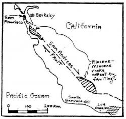 A diagram showing the San Andreas fault relative to California