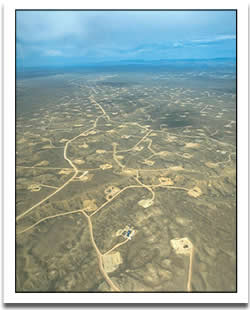 Aerial view of a Wyoming gas field.