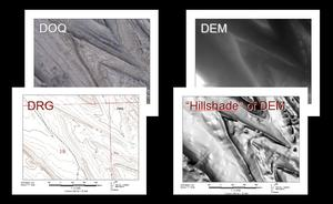 Image displays four different spatial data products: DOQ, DRG, DEM, Hillshade