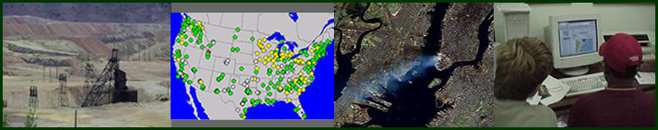 banner image with mine GIS map satellite photo of New York students at computer