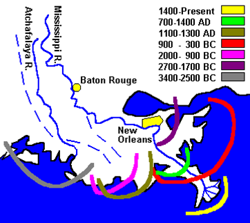Ancient Mississippi River deltas.