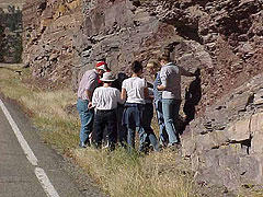 Geology students examining rocks of the Belt Supergroup.