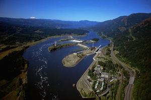 Aerial View of the Bonneville Dam Complex.