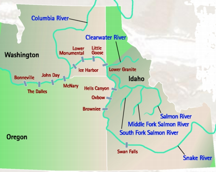 Map of dam locations throughout the Columbia River Basin.