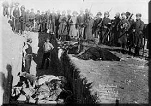 Burial of the dead at Wounded Knee in 1890.