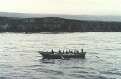 A bidarrah, or large skin boat off St. George Island.
