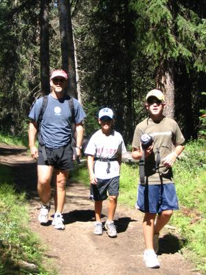 Family hiking at Windy Pass.