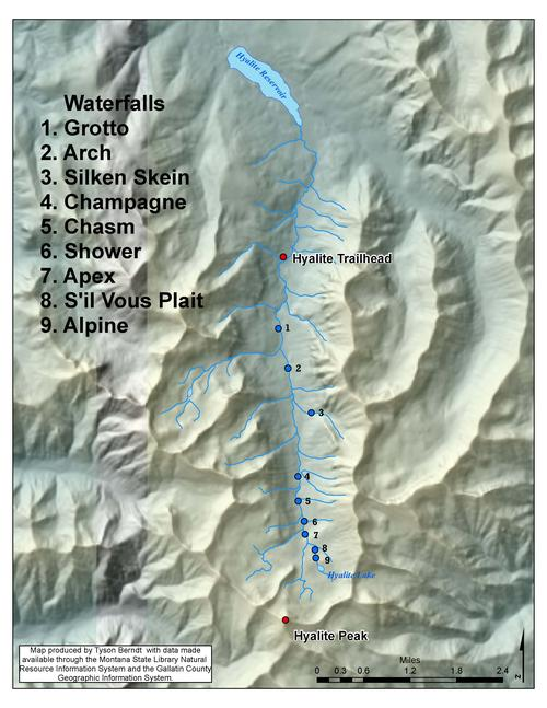 Map to Hyalite Waterfalls