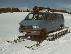 Snowcoach in the Hayden Valley of Yellowstone National Park.