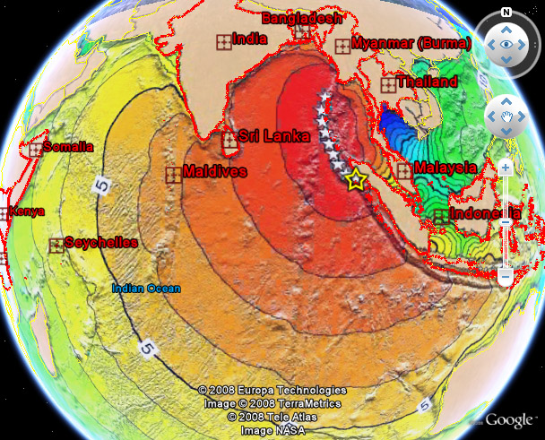 Boxing Day Tsunami Wave Travel Time Overlay
